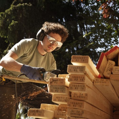 a worker working with woods